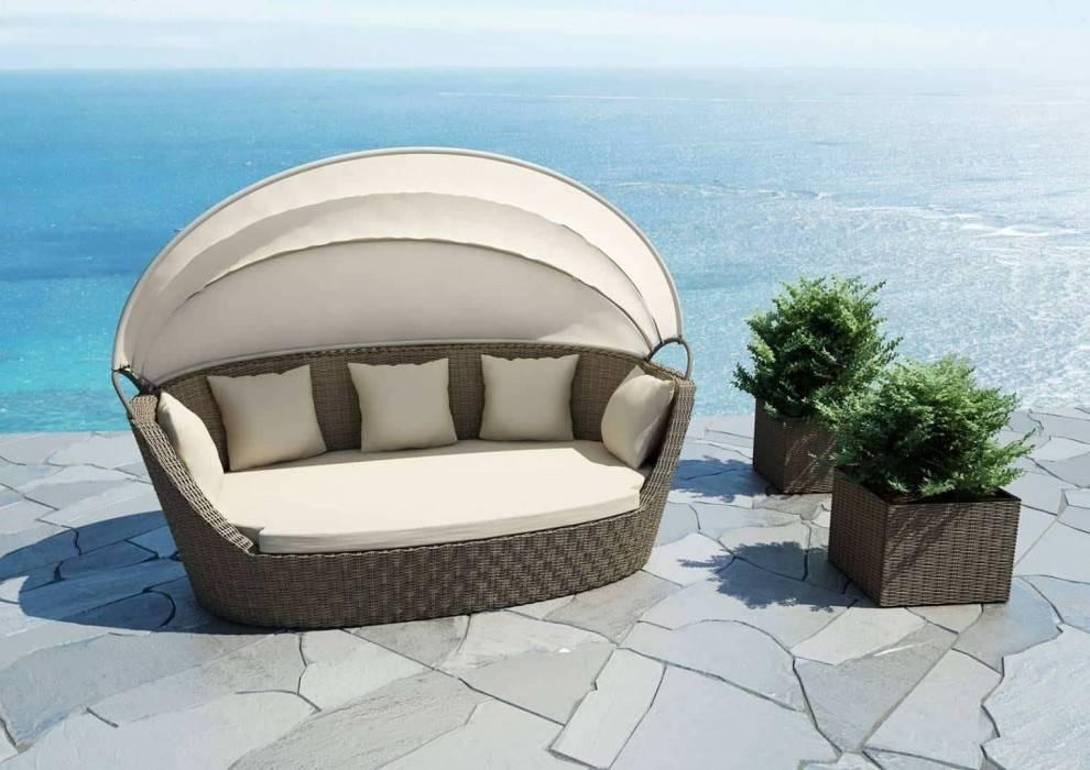 Biely záhradný nábytok na terasu - pohovka Portofino