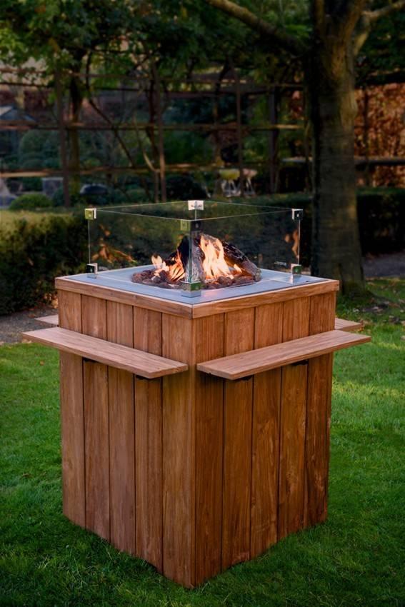 Teakové plynové ohnisko 76x76x46cm