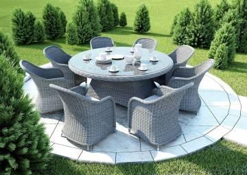 Záhradná ratanová jedálenská súprava RONDO ø180 Royal siva