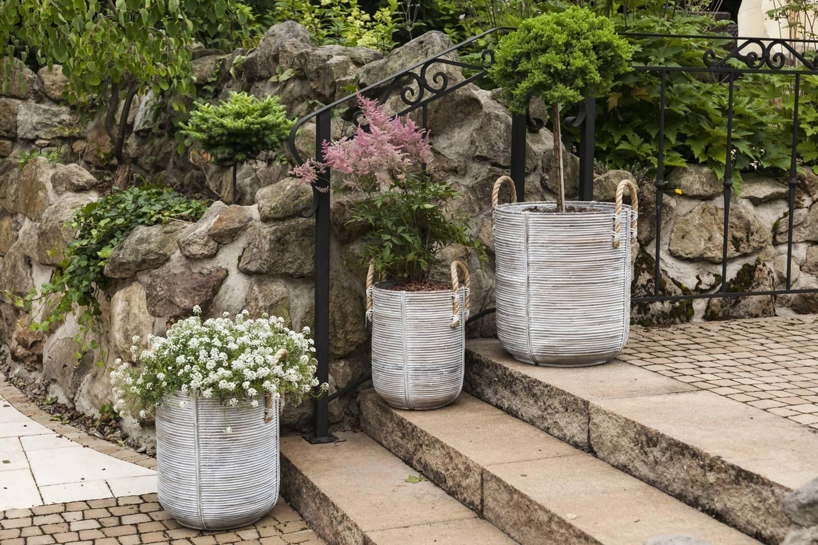 Záhradný ratanový kvetináč AMIENS ⌀35cm  výška 45cm biely