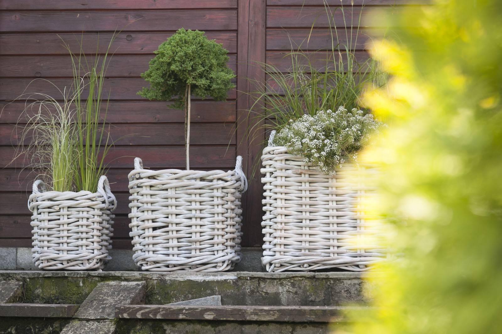 Záhradný ratanový kvetináč NARBONNE 35x35 výška35cm biely