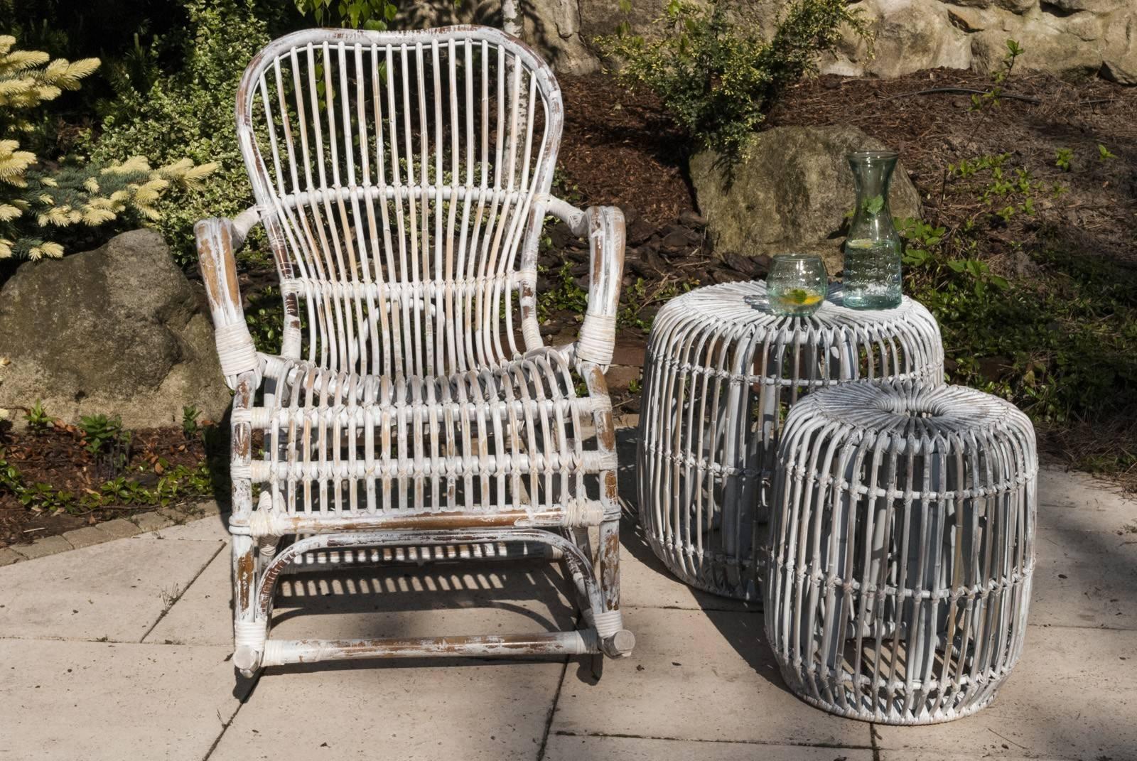 záhradný ratanový stolík / taburet CANNES