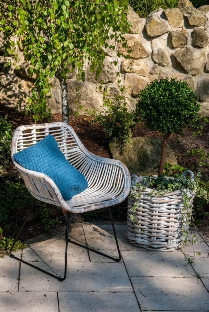 Ratanový záhradný kvetináč RENNES ⌀35 výška35cm  biela