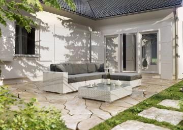 Záhradný stolík Milano II (so sklom a čalúnením)