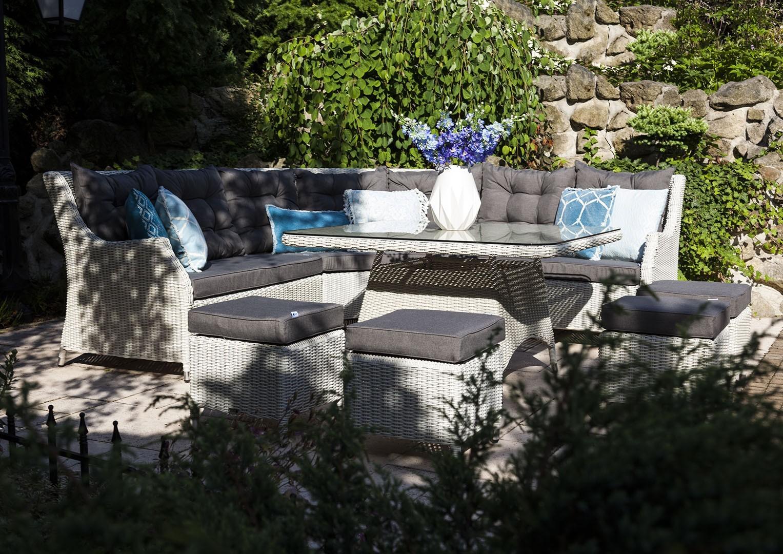 Záhradná ratanová jedálenská súprava SIENA Royal biela