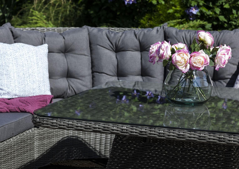 Záhradna ratanová jedálenská súprava SIENA Royal sivá