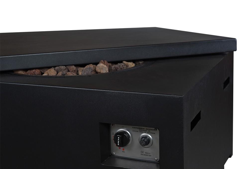 Obdĺžnikové plynové ohnisko 114 x 87 x 55 cm čierne
