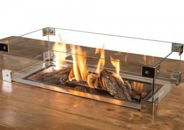 Sklenený kryt pre vstavané obdĺžnikové ohnisko