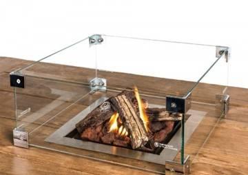 Sklenený kryt na zabudované stolové štvorcové ohnisko