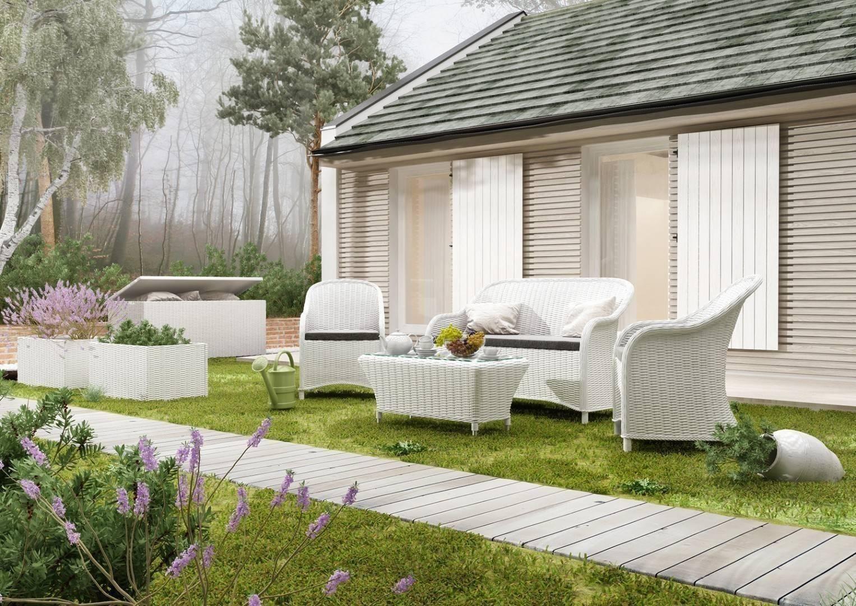 Biely záhradný nábytok na terasu set Leonardo Royal biely