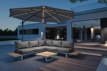 Záhradná hliníková sedacia súprava CORIA I light grey