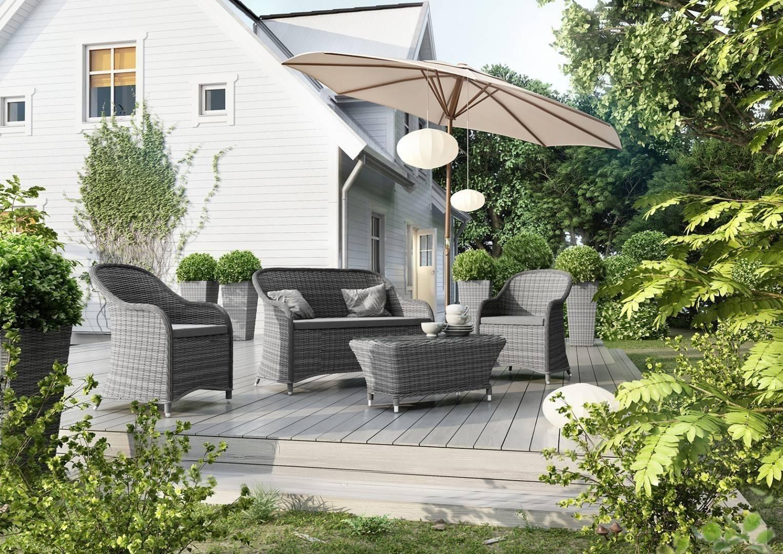 Záhradná ratanová súprava LEONARDO sivá