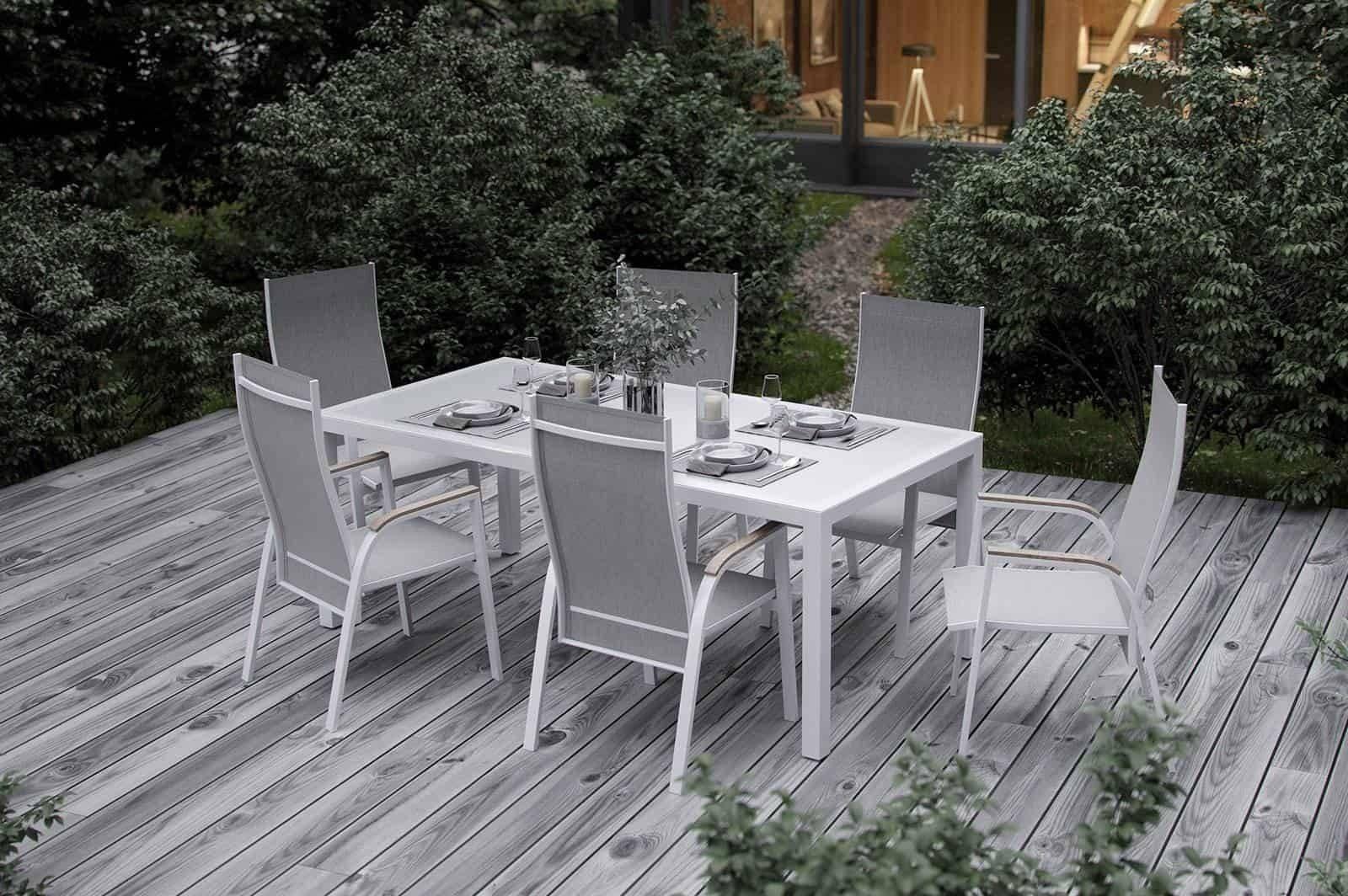 Záhradný nábytok OVIEDO matná biela teak