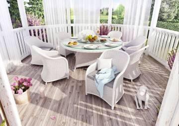 Záhradná ratanová jedálenská súprava RONDO ø180 Royal biela