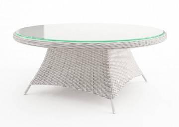 Záhradný ratanový stôl  RONDO 180 biela