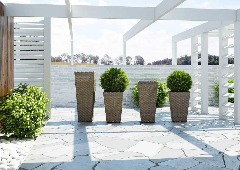 Záhradný ratanový kvetináč SCALEO 100 royal piesok