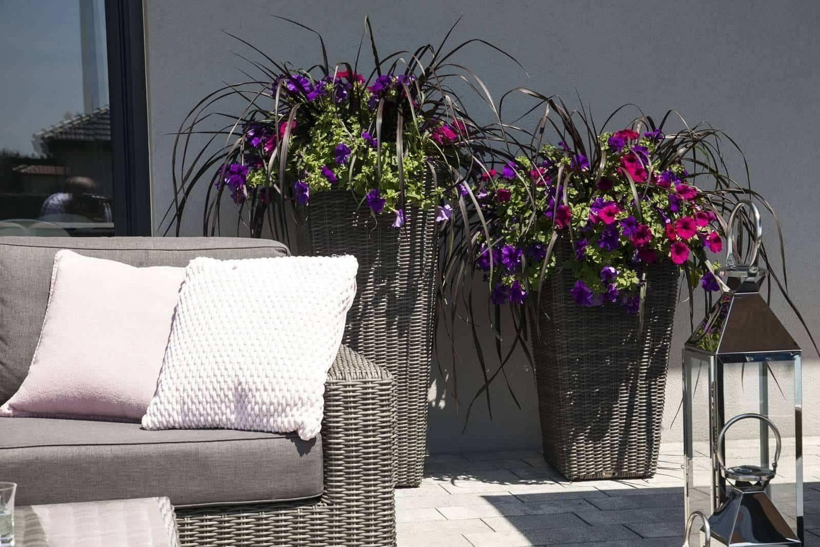 Záhradný ratanový kvetináč SCALEO 60 royal grey