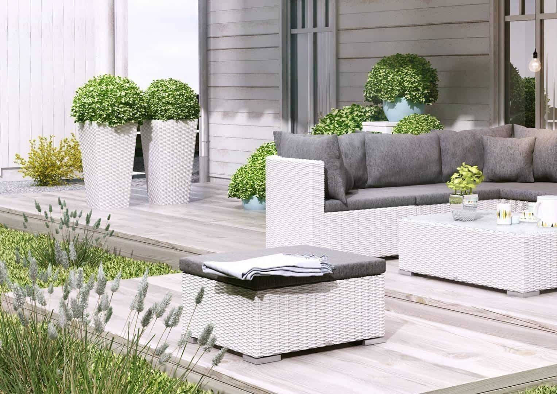Záhradný ratanový kvetináč SCALEO 60 royal biela