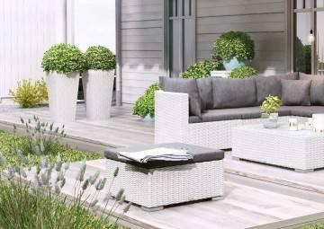 Záhradný ratanový kvetináč SCALEO 80 royal biela