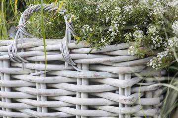 Záhradný ratanový kvetináč NARBONNE 65x65 výška55cm biely