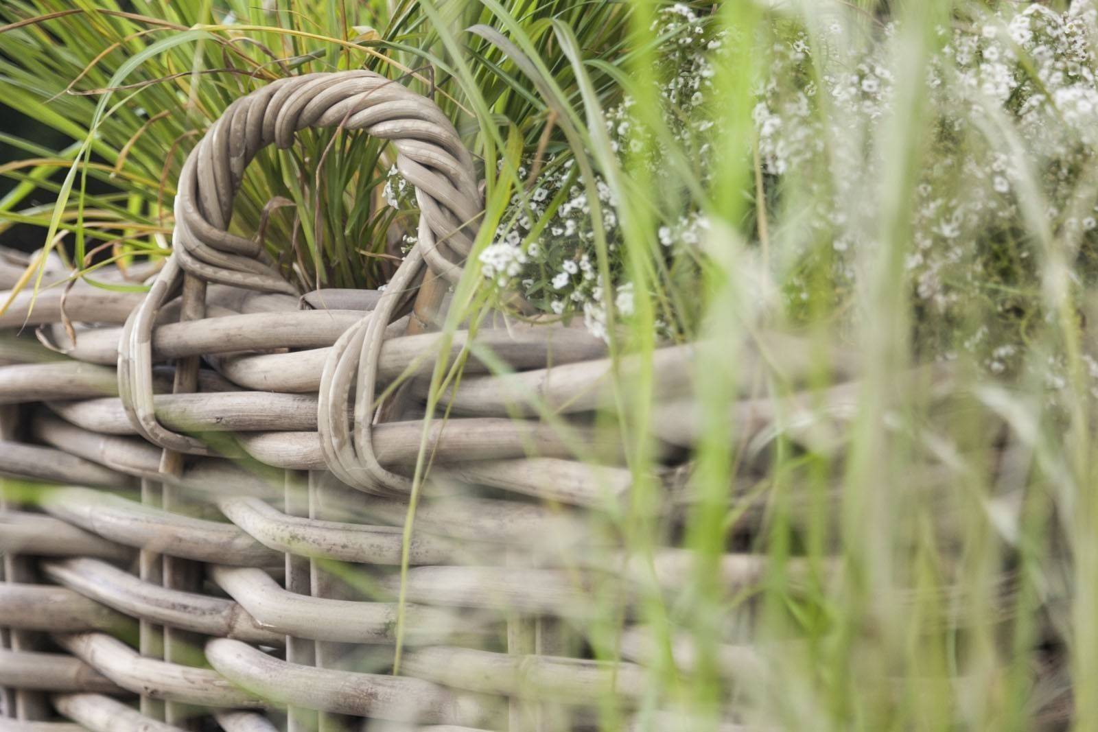 Záhradný ratanový kvetináč NARBONNE 65x65 výška55cm natur