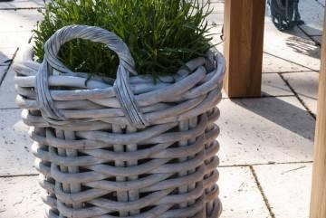 Záhradný ratanový kvetináč RENNES ⌀50 výška45cm biela