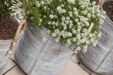 Záhradný ratanový kvetináč AMIENS ⌀40cm  výška 45cm biely