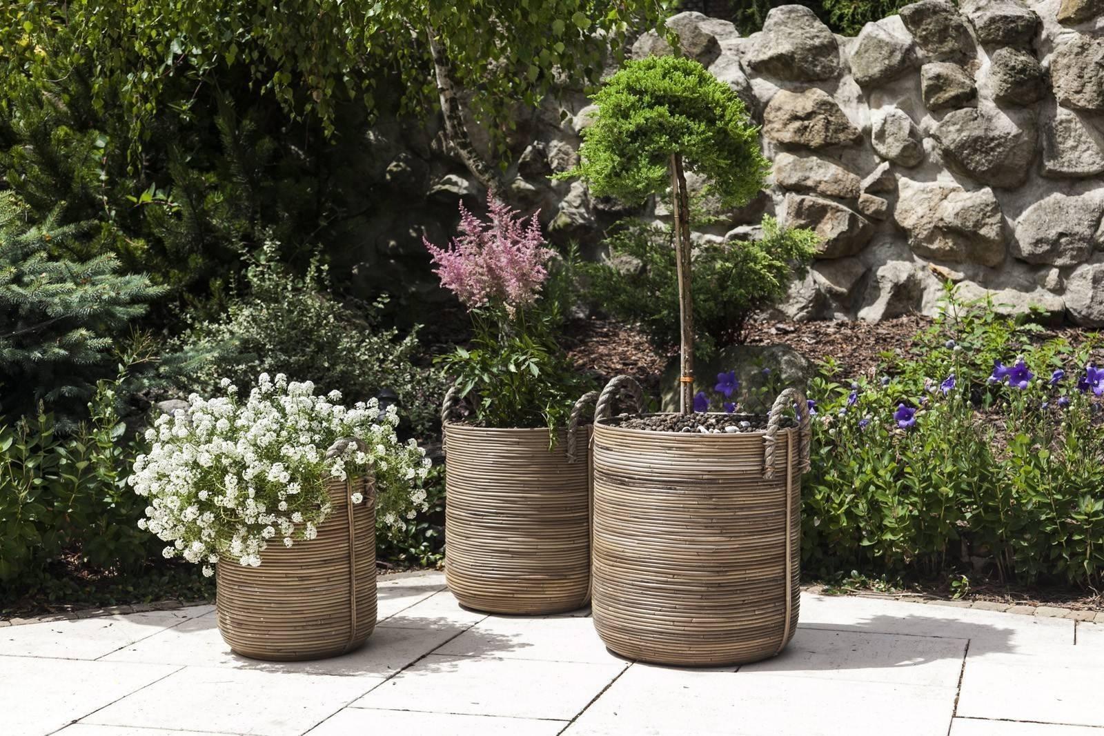 Záhradný ratanový kvetináč AMIENS ⌀35cm  výška 45cm natur