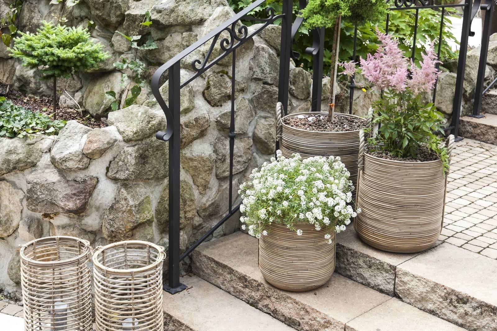 Záhradný ratanový kvetináč AMIENS ⌀40cm  výška 45cm natur