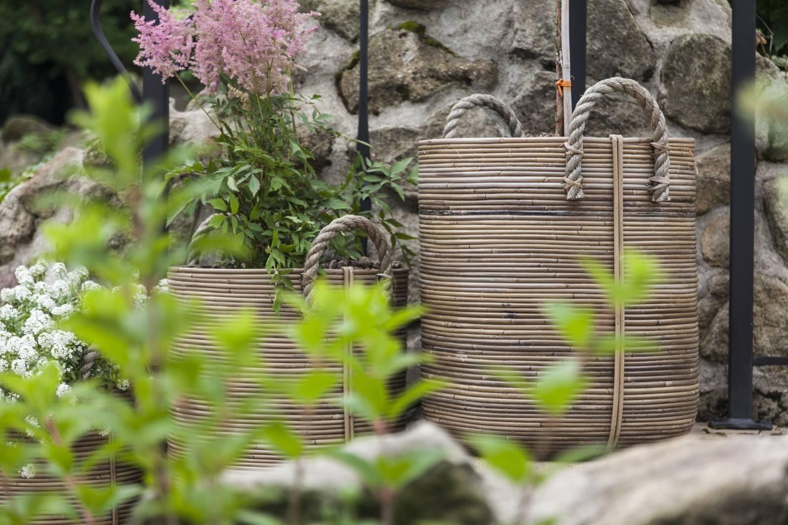 Záhradný ratanový kvetináč AMIENS ⌀45cm  výška 50cm natur