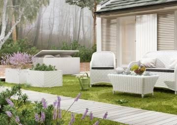 Záhradný ratanový box SCATOLA 100 Royal biela