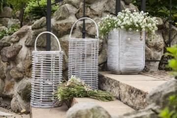 Záhradný ratanový lampáš AVIGNON biela