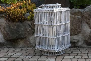 Záhradný ratanový lampáš ROUSILLON 27x 27 x v.50 biela