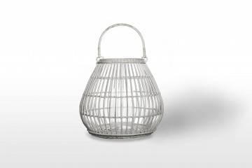 Záhradný okrúhly lampáš CAEN ⌀54cm x výška 48cm biela