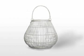 Záhradný okrúhly lampáš CAEN ⌀64cm x výška 53cm biela