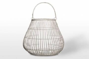 Záhradný okrúhly lampáš CAEN ⌀69cm x výška 59cm biela
