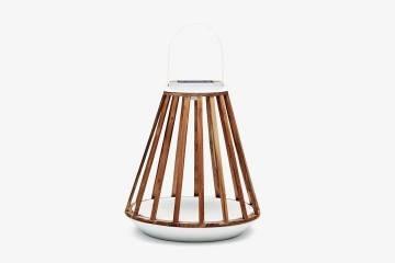 Záhradný lampáš Mrs. Solar Kate teak biela L