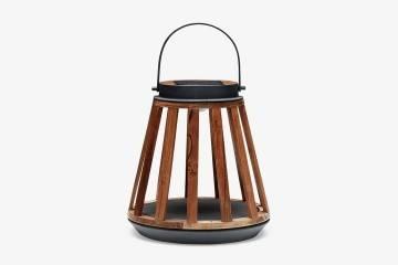 Záhradný lampáš Mrs. Solar Kate teak antracit S