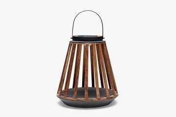 Záhradný lampáš Mrs. Solar Kate teak antracit M