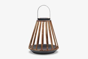 Záhradný lampáš Mrs. Solar Kate teak antracit L