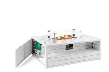 Obdlžnikové plynové ohnisko nezerové biele